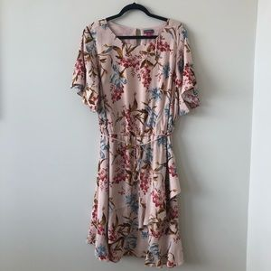 Vince Camuto Floral Dress With Ruffle Bottom Hem